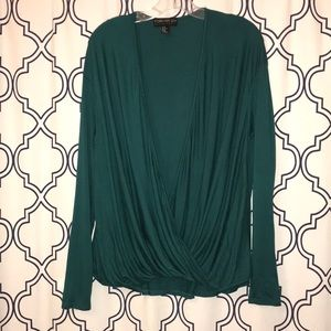 Forever 21+ emerald green faux wrap top